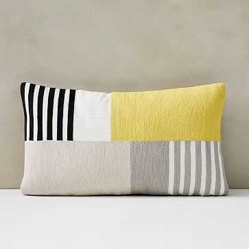 """Corded Striped Blocks Pillow Cover, 12""""x21"""", Citrus Yellow - West Elm"""