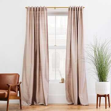 """Dupioni Silk Blackout Lining Curtain, 48""""x96"""", Dusty Blush - West Elm"""