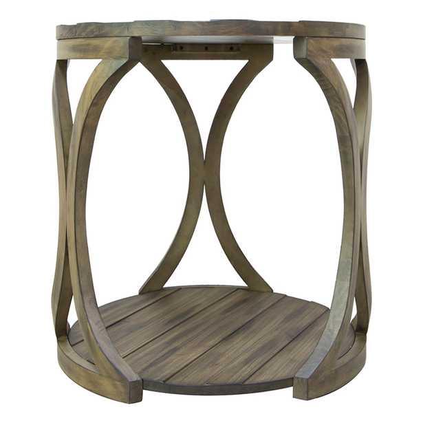 "Hawthorne Estate 23""W Textured Sierra Pine Round End Table - Style # 81E56 - Lamps Plus"