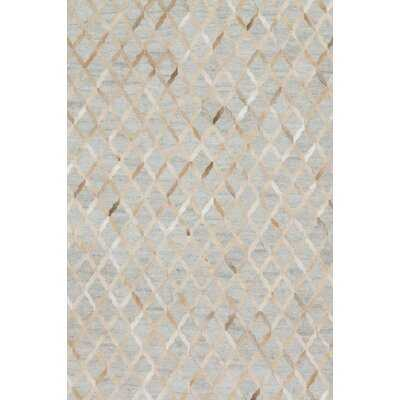 Haden Geometric Handmade Cowhide Beige/Gray Area Rug - AllModern