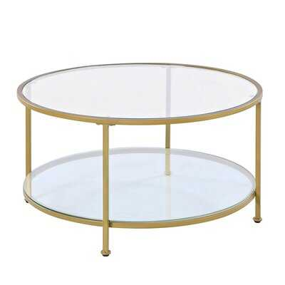 Mercer41 & Co. Gold Marcus Round Glass Coffee Table - Wayfair