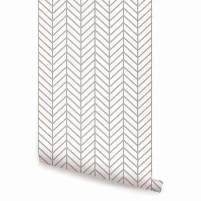 Nevaeh Herringbone Line Matte Fine Fabric Weave Peel and Stick Wallpaper Panel - Birch Lane
