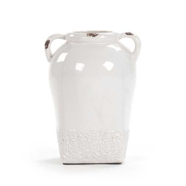 Zentique Cylindrical White Large w/Handle Decorative Vase, Distressed Crackle White - Home Depot