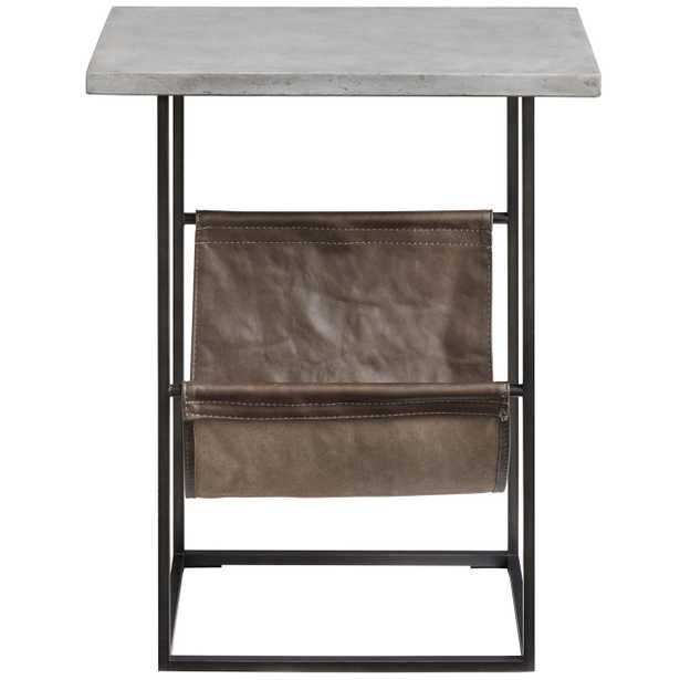 Anton Industrial Loft Grey Stone Top Leather Wood Side End Table - Kathy Kuo Home