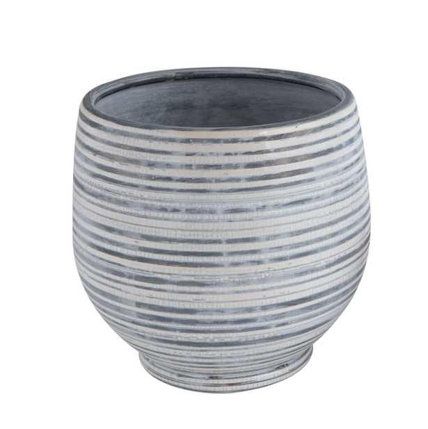 Grey & White Striped Stoneware Planter - Nomad Home