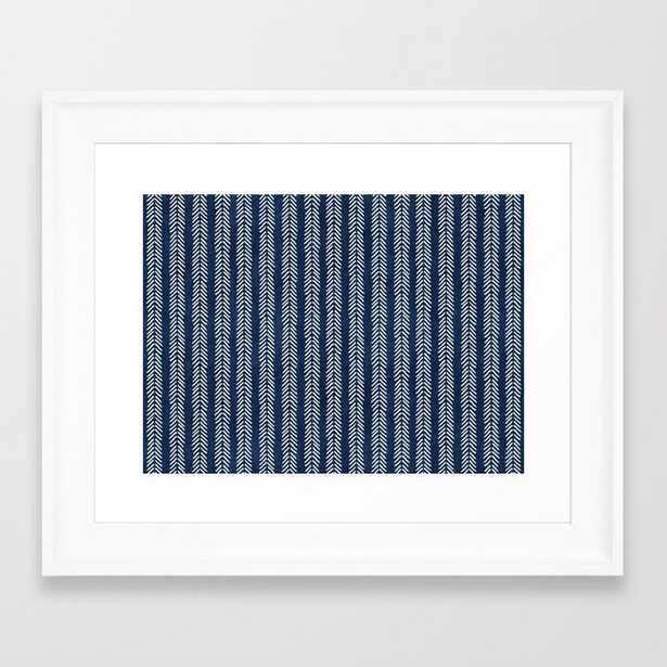 Mud Cloth - Navy Arrowheads Framed Art Print by Becky Bailey - Scoop White - X-Small-10x12 - Society6