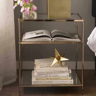 Janelle Glass Top End Table with Storage - Wayfair