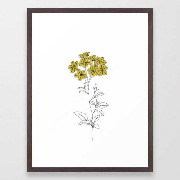 Botanical Floral Illustration Line Drawing - Iona Framed Art Print by The Colour Study - Conservation Walnut - MEDIUM (Gallery)-20x26 - Society6