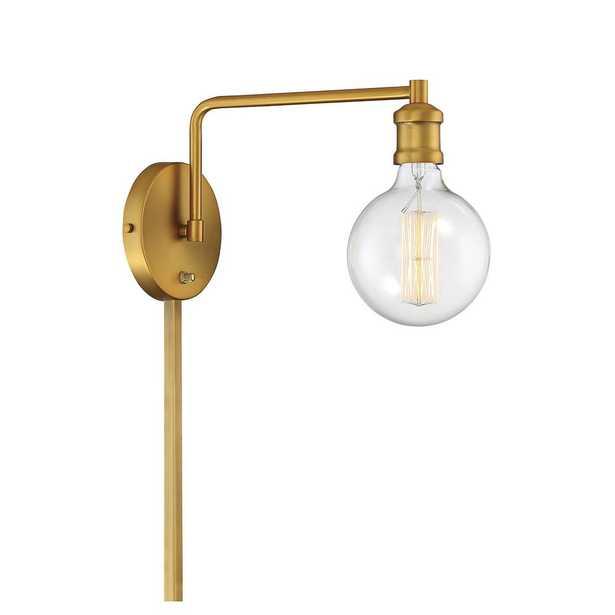 Filament Design 1-Light Natural Brass Sconce - Home Depot