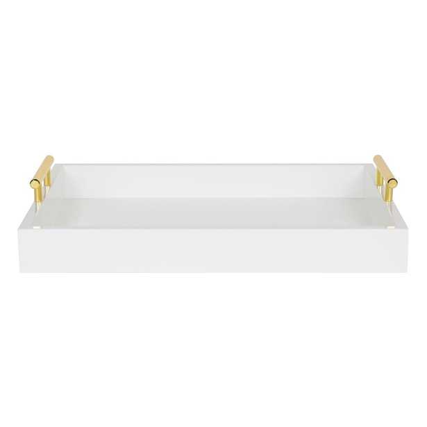 Kate and Laurel Lipton White Decorative Tray - Home Depot