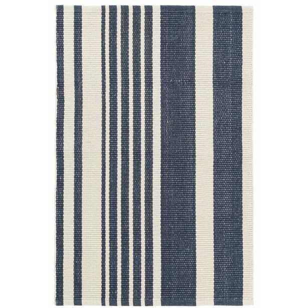 Dash and Albert Rugs Portland Striped Handmade Flatweave Cotton Dark Blue Area Rug Rug Size: Rectangle 8' x 10' - Perigold