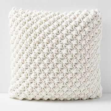 """Bobble Knit Pillow Cover, 24""""x24"""", Natural - West Elm"""