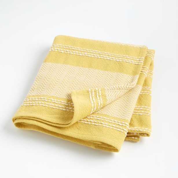 Yellow Textured Throw Blanket - Crate and Barrel