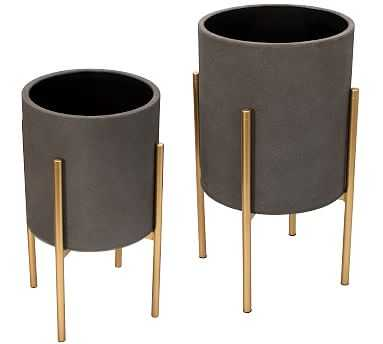 Everly Gray Raised Planters with Gold Stand, Set of 2 - Pottery Barn