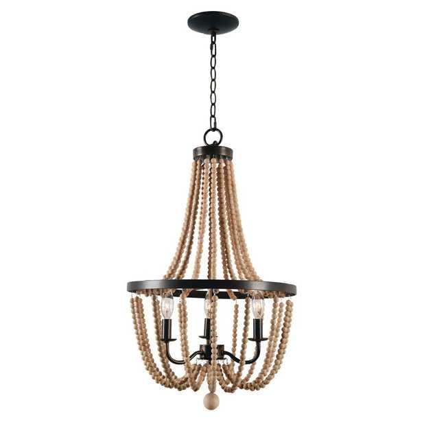 Kenroy Home Regas 3-Light Wood Bead Chandelier - Home Depot