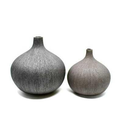 2 Piece Ashworth Black Porcelain Table Vase Set - Wayfair