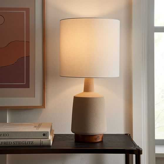 Wood And Ceramic Table Lamp, Large, Sand, Burnt Wax-Individual - West Elm