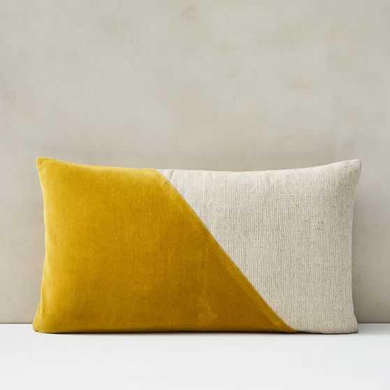 "Cotton Linen + Velvet Lumbar Pillow Cover with Down Insert, Dark Horseradish, 12""x21"" - West Elm"