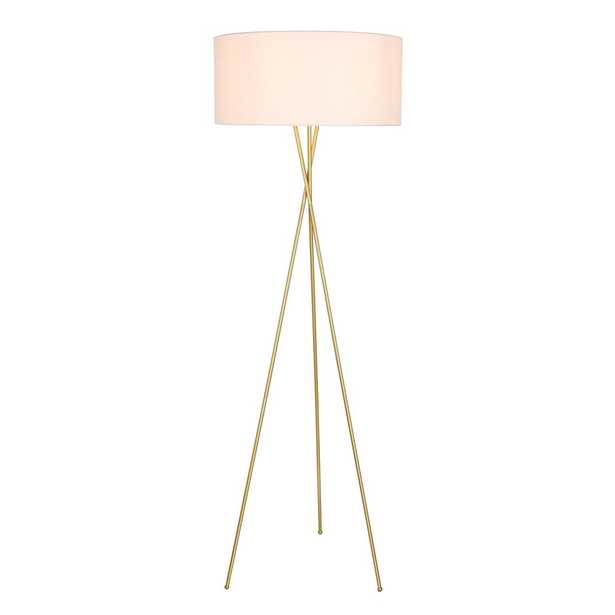 ELEGANT FURNITURE & LIGH Timeless Home 66 in. H 1-Light Metal Indoor Floor Lamp in Brass and White shade - Home Depot