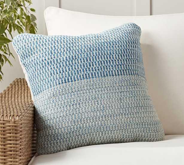 "Baker Textured Indoor/Outdoor Pillow, 20 x 20"", Blue Multi - Pottery Barn"