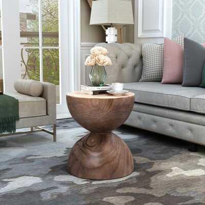 Tieman Solid Wood Drum End Table - Wayfair