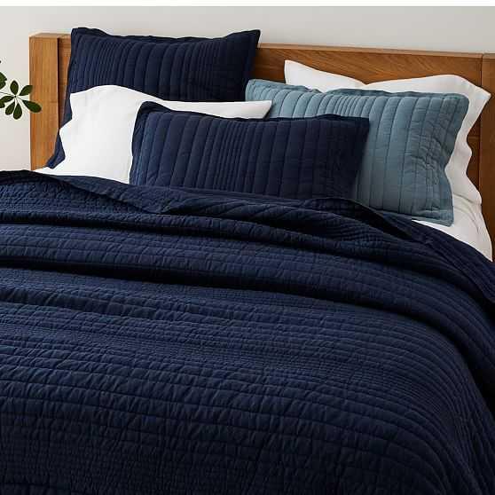 European Flax Linen Linework Quilt, King, Midnight - West Elm