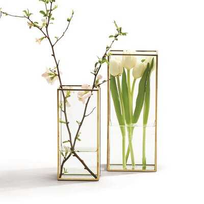 2 Piece Wifrith Clear/Gold Glass Table Vase Set - Wayfair