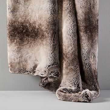 """Faux Fur Ombre Throw, 47""""x60"""", Mocha - West Elm"""