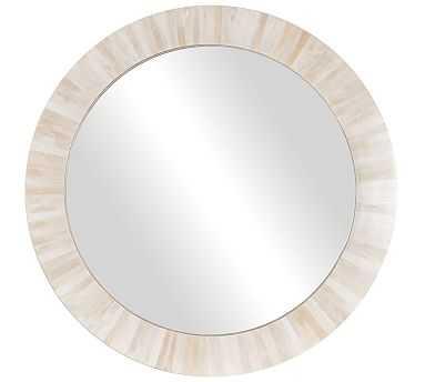 "Nevaeh Round Bone Wall Mirror, White - 33"" - Pottery Barn"