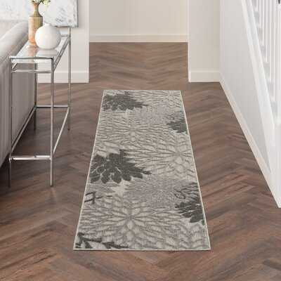 Rosas Floral Silver Gray/Ivory/Taupe Indoor / Outdoor Area Rug - Wayfair