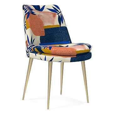 Finley Low Back Dining Chair, Botanic Collage Landscape, Blue Multi, Light Bronze - West Elm