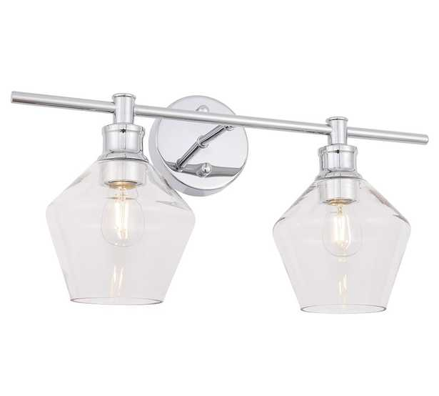 """Tolari Double Sconce, 19.1"""", Chrome and Clear Glass - Pottery Barn"""