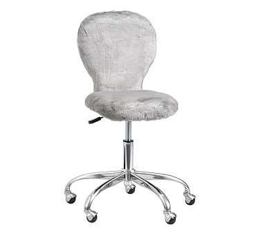 Swivel Round Upholstered Task Chair, Gray Fur, Unlimited Flat Rate Delivery - Pottery Barn Kids