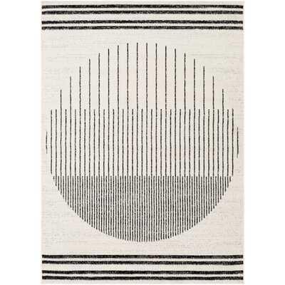 Riordan Striped Black/Ivory Area Rug  5' x 7' - Wayfair