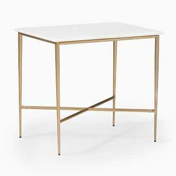 Neve Square Side Table, White Marble - West Elm