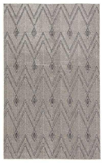 "Luz Indoor/ Outdoor Chevron Gray Area Rug (7'6""X9'6"") - Collective Weavers"