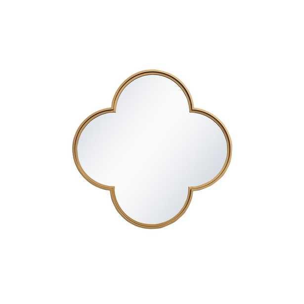 "Elegant Furniture Timeless Home 28""H X 28""W Midcentury Modern Flower Metal Wall Mirror in Brass - Home Depot"