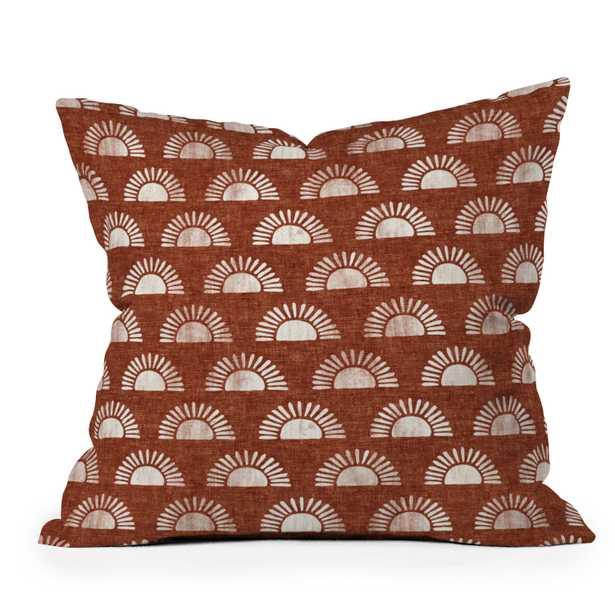 "Block Print Suns On Rust by Little Arrow Design Co - Outdoor Throw Pillow 20"" x 20"" - Wander Print Co."