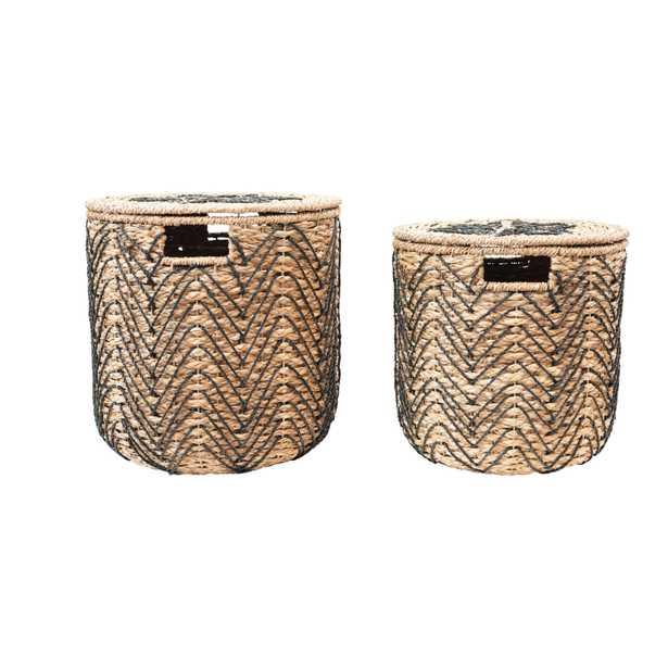 Handmade Woven Bankuan Baskets with Lids, Natural & Black, Set of 2 - Moss & Wilder