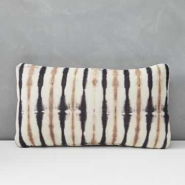 "Outdoor Tie Dye Stripe Pillow, 12""x21"", Black - West Elm"