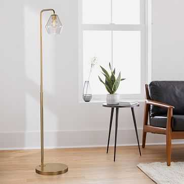 "Sculptural Floor Lamp, Geo Mini, Clear, Antique Brass, 6.5"" - West Elm"