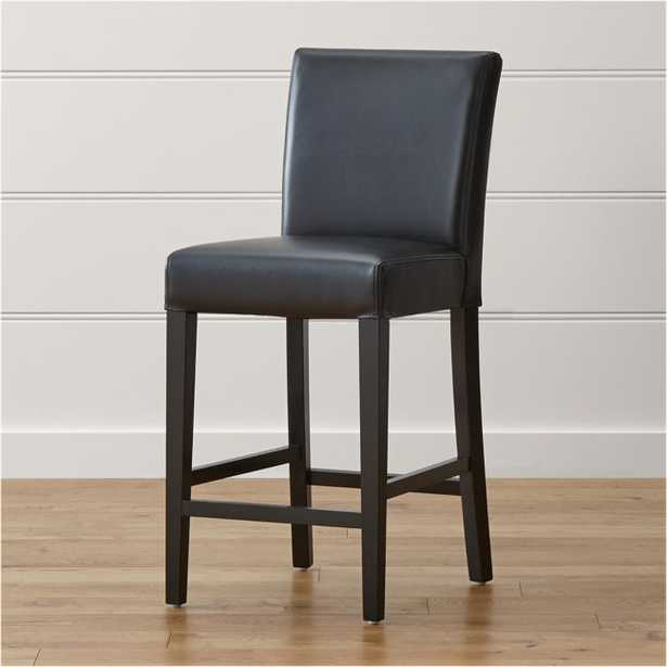 Lowe Onyx Leather Counter Stool - Crate and Barrel