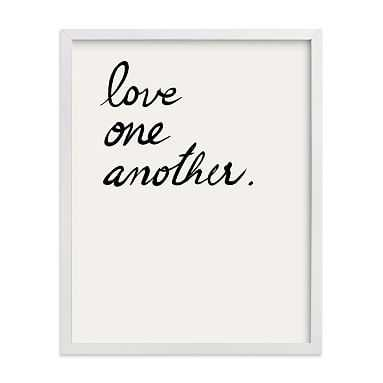Love one, Love all Framed Art by Minted(R), White, 11x14 - Pottery Barn Teen