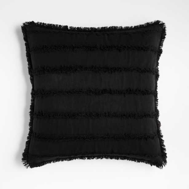 """Denim 18"""" Black Pillow Cover with Down-Alternative Insert - Crate and Barrel"""