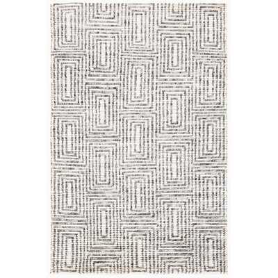 Slade Geometric Hand Knotted Wool/Cotton Black Area Rug - Wayfair