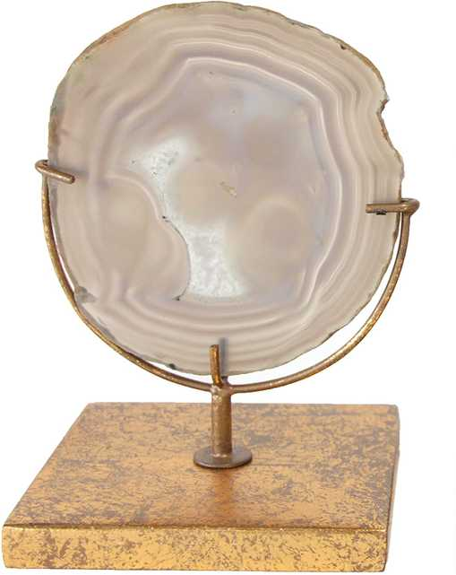 Decorative Agate Stone Slice on Metal Stand - Nomad Home