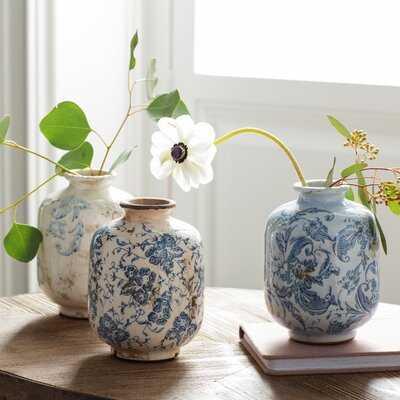 3 Piece Bud Terracotta Blue and White Table Vase Set - Wayfair