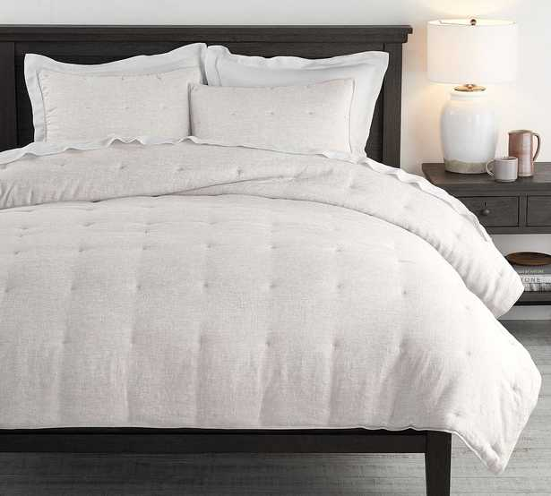 Soft Gray Belgian Flax Linen Comforter, King/Cal. King - Pottery Barn