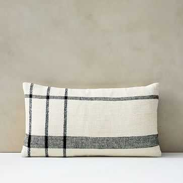 "Cotton Silk Open Windowpane Pillow Cover, 12""x21"", Stone White - West Elm"