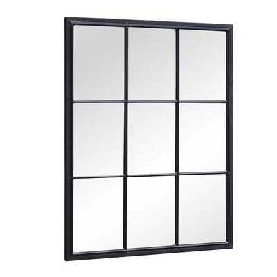 "36""H Rectangular Windowpane Metal Wall Mirror - Black - Wayfair"